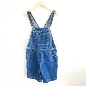 Vintage Denim Dark Wash Shortalls Short Overalls